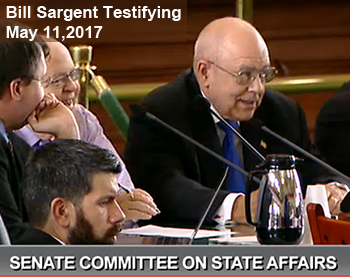 Bill Sargent Testifying on Election Legislation, May 11, 2017 before Senate State Affairs