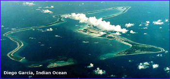 Aerial view of Diego Garcia Island in the Indian Ocean