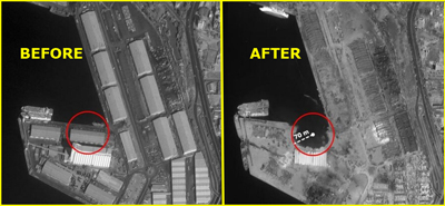Before and After satellite images of the devisttion caused by the Beirut blast