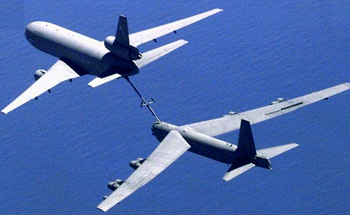 B-52 Bomber in flight refueling