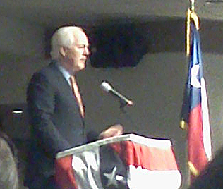 Senator John Cornyn speaking in Lake Jackson
