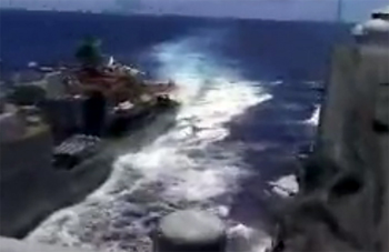 Russian destroyer comes within 50 feet of U.S. cruiser in unprecidented and unprofessional maneauver