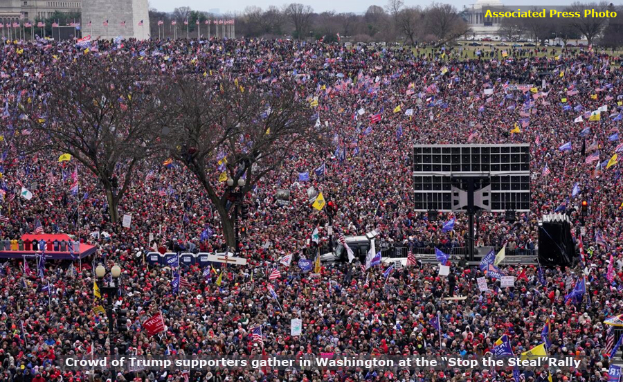 "Thousands upon thousands of Trump Supporters gather in Washington, DC at the ""Stop the Steal"" rally, January 6, 2021"